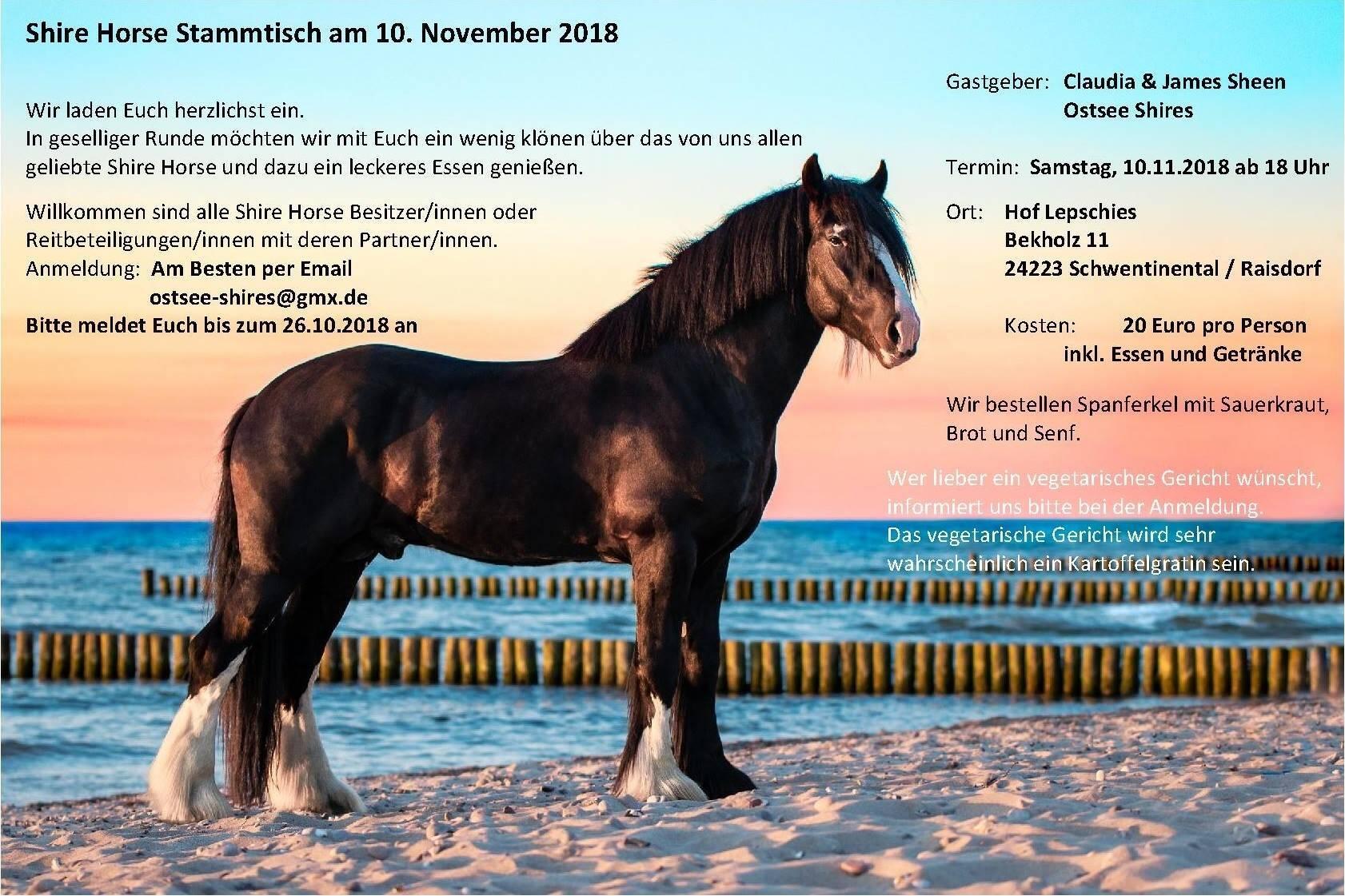 Stammtisch Ostsee Shires im November