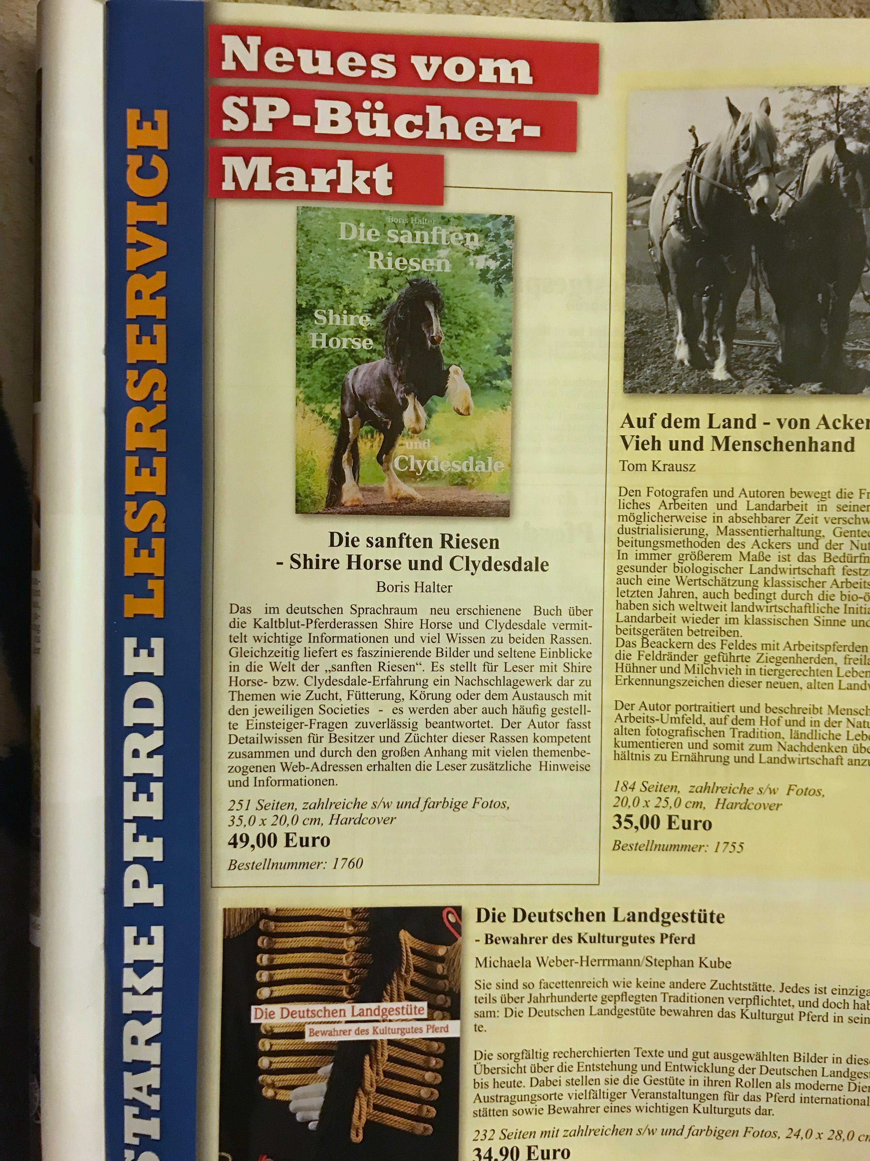 Buchwerbung in dem Kaltblutmagazin Starke Pferde